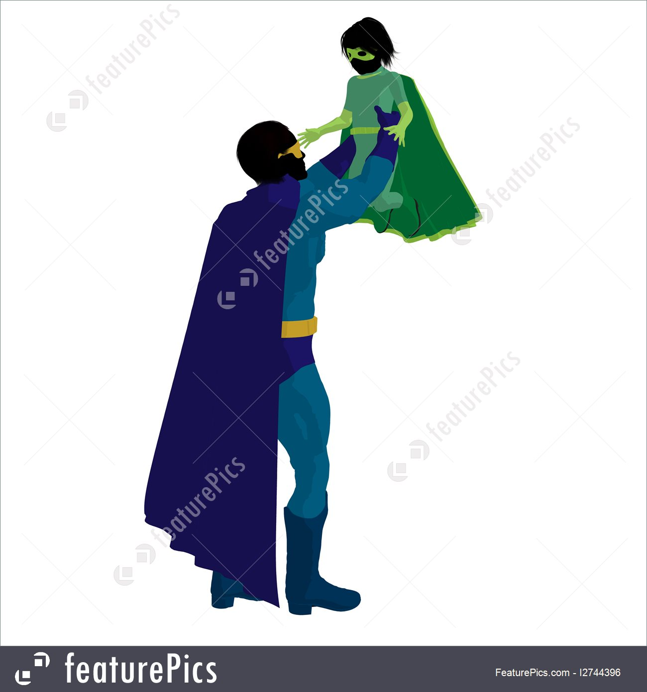 1300x1392 Super Hero Dad Silhouette Illustration
