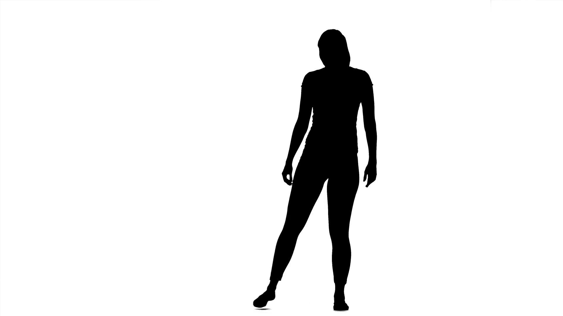1920x1080 Girl Shows The Pose Of The Hero. Silhouette Stock Video Footage
