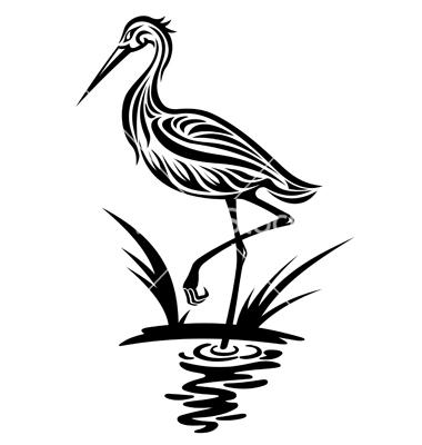 380x400 Heron Bird Silhouette Vector Silhouette Clip Art