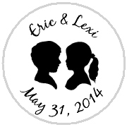 180x180 Personalized Wedding Couple Silhouette Hershey Kisses Stickers Labels