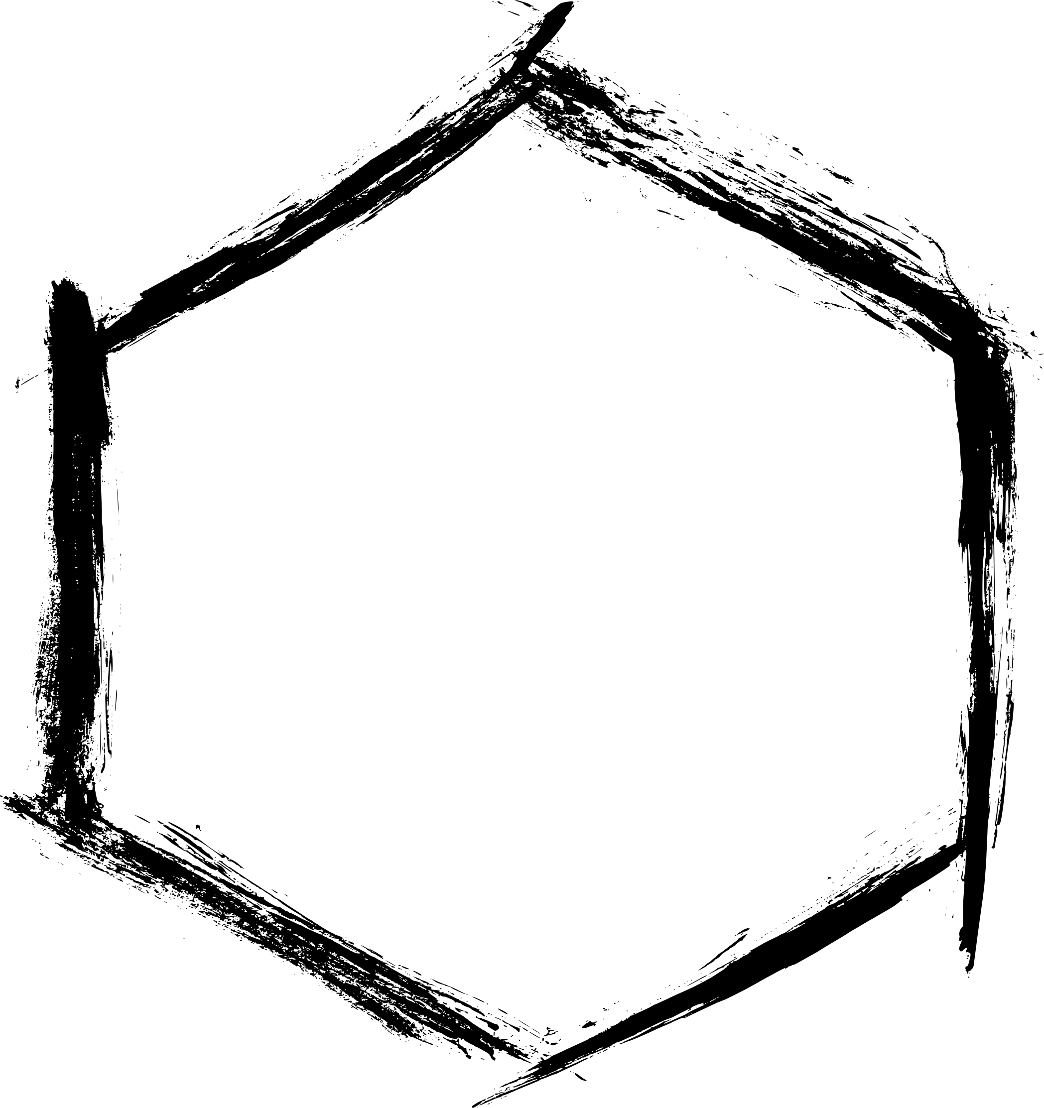 2096x2225 4 Grunge Hexagon Frame (Png Transparent)