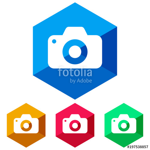 500x500 Simple, Flat, Hexagon Camera (White Silhouette) Icon. Four Color