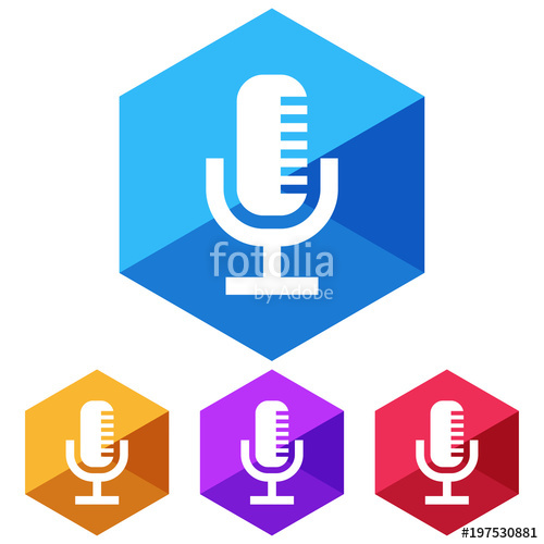 500x500 Flat, Hexagon Microphone (White Silhouette) Icon. Four Color