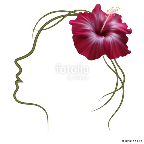 500x500 Realistic Hibiscus, Woman Face Silhouette, Frame. The Symbol
