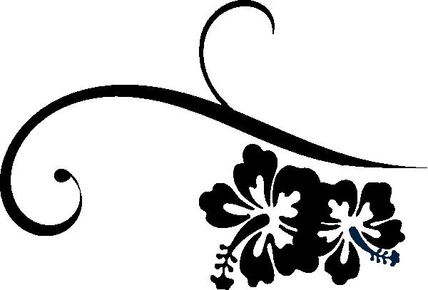 600x407 Hibiscus Swirl Clip Art