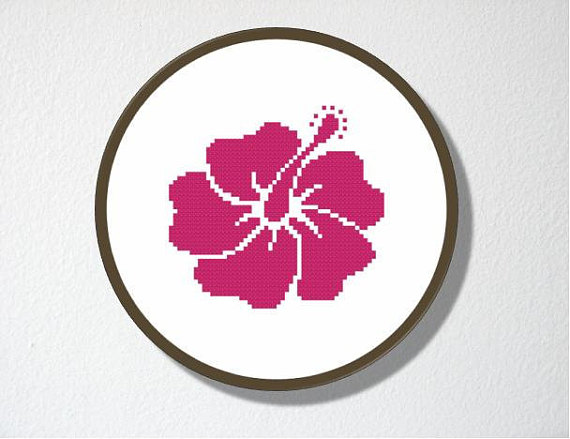 570x439 Counted Cross Stitch Pattern Pdf. Instant Download. Hibiscus
