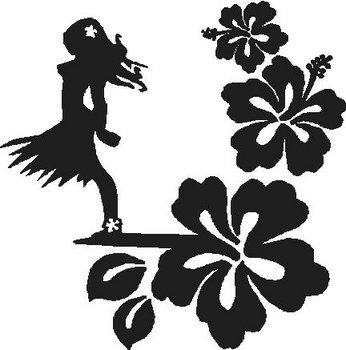 346x350 Flowers With A Hawaiian Girl, Vinyl Cut Decal