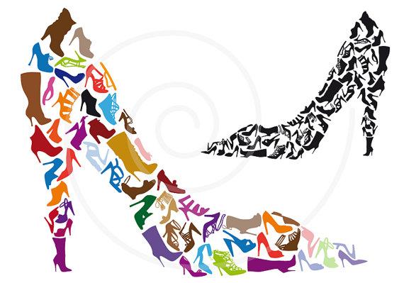 570x399 Shoe Clipart, Shoe Silhouettes, Digital Clip Art, High Heels