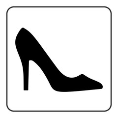 240x240 High Heel Shoes Icon. Elegant Black And Red Silhouette