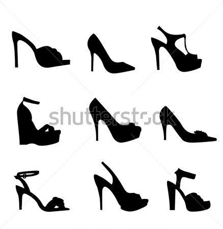 438x450 Nine Silhouette High Heels Stock Vector
