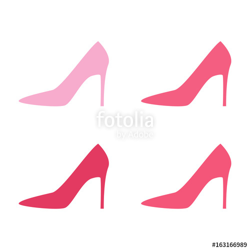 500x500 Pink Woman Shoes On High Heels Silhouettes. Vector Illustration
