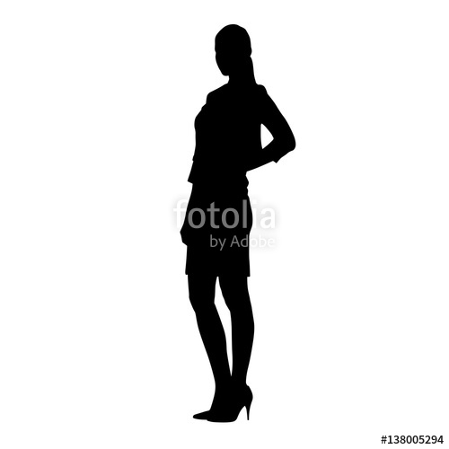 500x500 Slim Business Woman Standing Hands On Her Hips. Lady