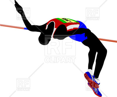 400x333 Silhouette Of Man Athlete High Jumping Royalty Free Vector Clip