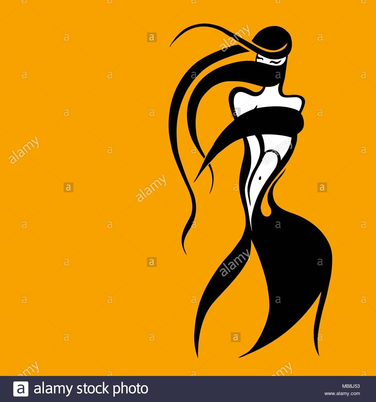 1300x1390 Beautiful Muslim Woman In Black Hijab. Silhouette. Hand Drawn
