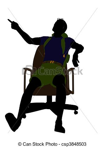 337x470 Male Hiker Sittng On An Office Chair Silhouette. Male Hiker