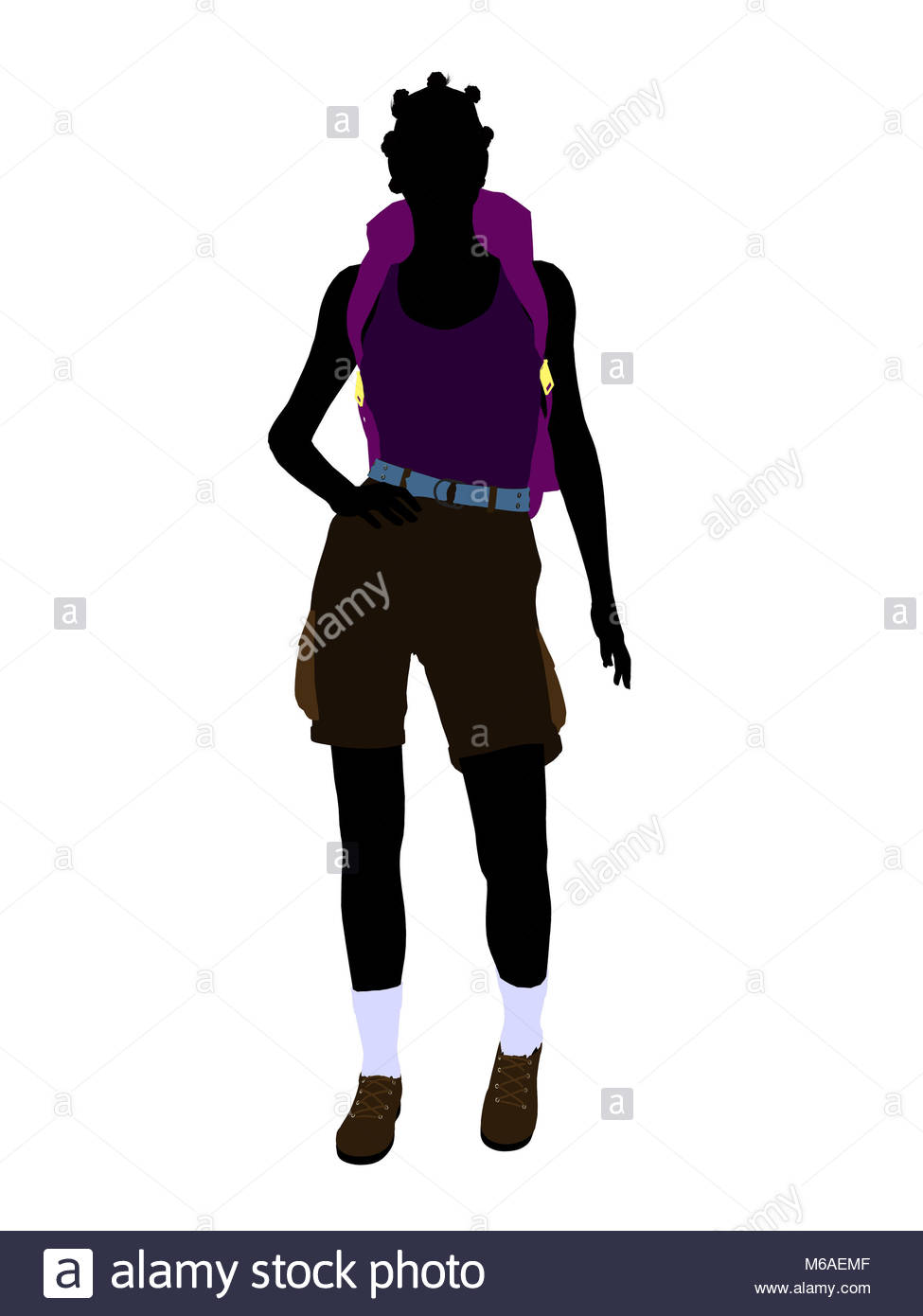 975x1390 African American Girl Illustration Silhouette Stock Photos