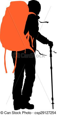 233x470 Vector Backpacker. Trekker Vector Silhouette With Orange