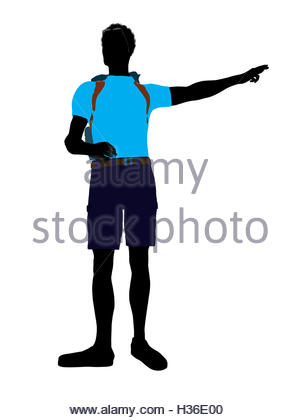 300x420 African American Hiker Silhouette Stock Photo, Royalty Free Image