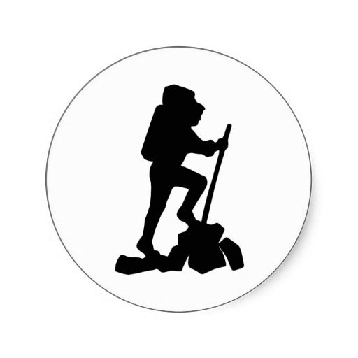 512x512 Hiker Silhouette Emblem Graphic Design Backpacker Round Stickers