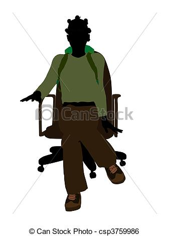 337x470 African American Female Teen Hiker Silhouette. Female Stock