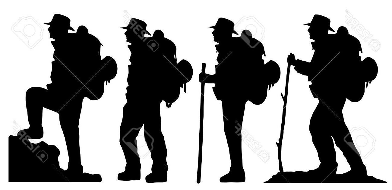 1300x630 Top Hiker Silhouettes On The White Background Photos