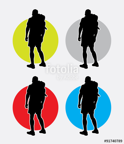 431x500 Hiker Man Pose Silhouette Logo. Good Use For Symbol, Web Icon
