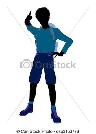 337x470 African American Teen Hiker Silhouette. African American Stock