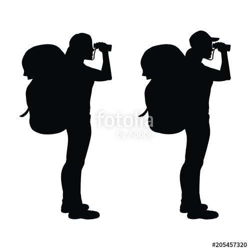 500x500 Isolated Silhouette Of A Hiker Girl Looking Through Binoculars