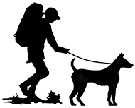 190x153 Hiker And Dog Silhouette Hikes Dog Silhouette