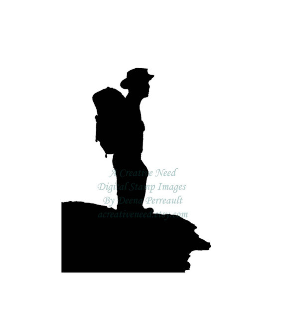 570x671 Instant Download Digital Stamp Image Hiking Man Silhouette
