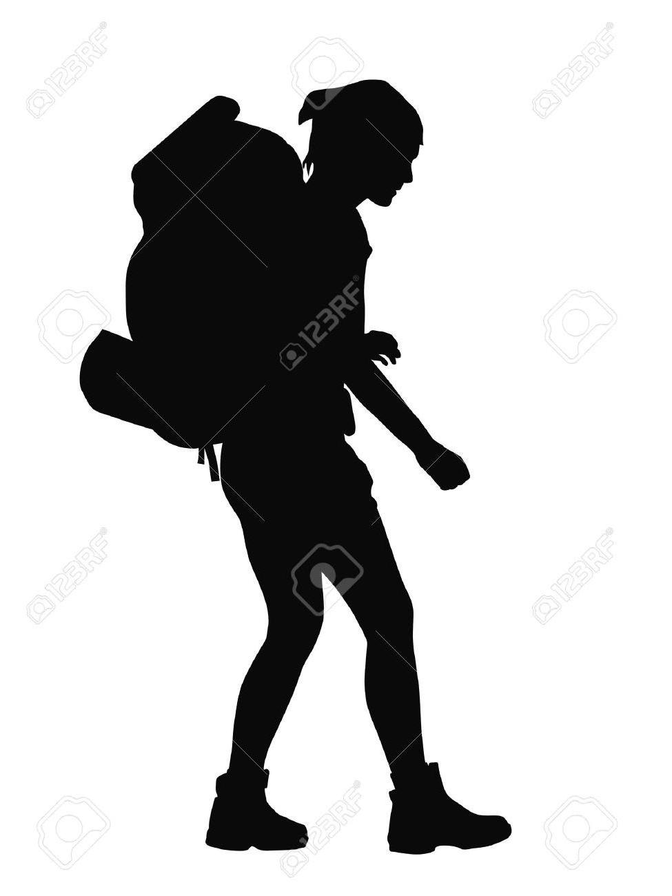 975x1300 Top Hd Girl With Backpack Vector Silhouette Eps Stock Hiker Images