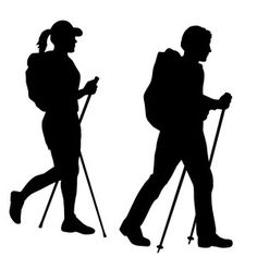 236x236 Women Hiker Silhouette Vinyl Decal Sticker Camping Hiking Mountain