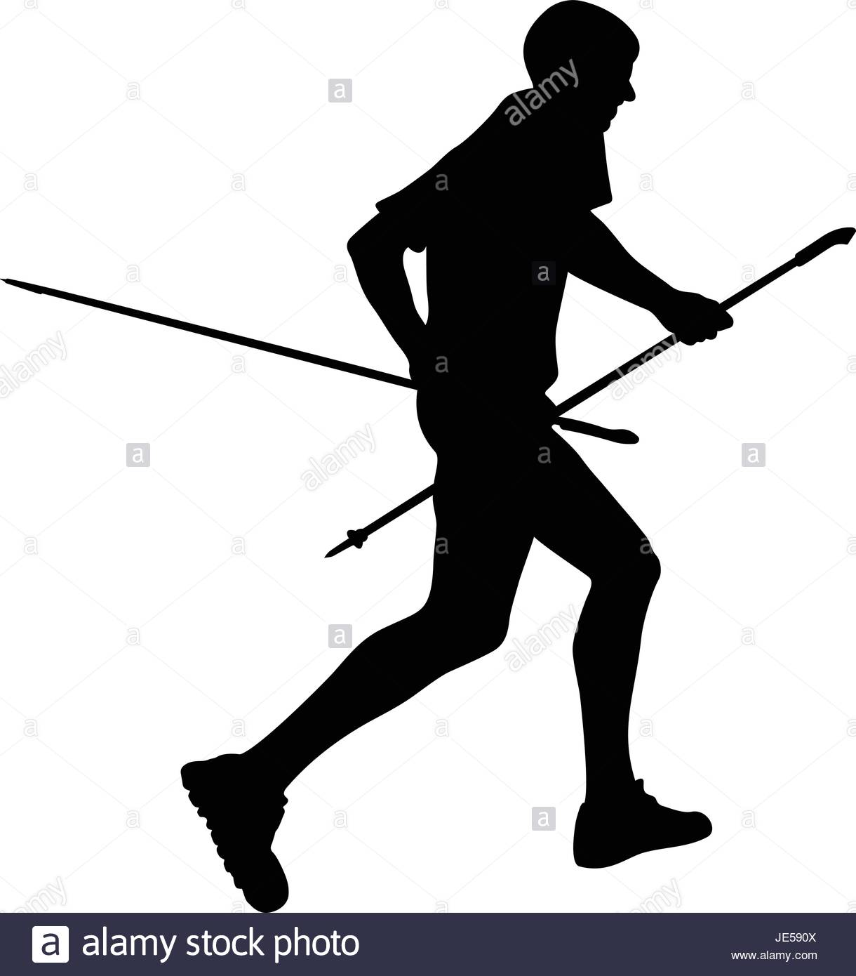 1220x1390 Side View Black Silhouette Male Runner With Trekking Poles Running
