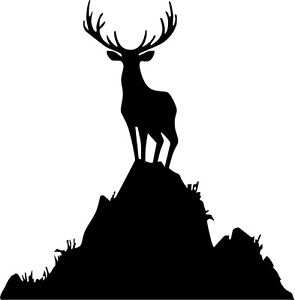 295x300 A Buck In A Hill Hunting Silhouette Vinyl Cut Decal Or Sticker