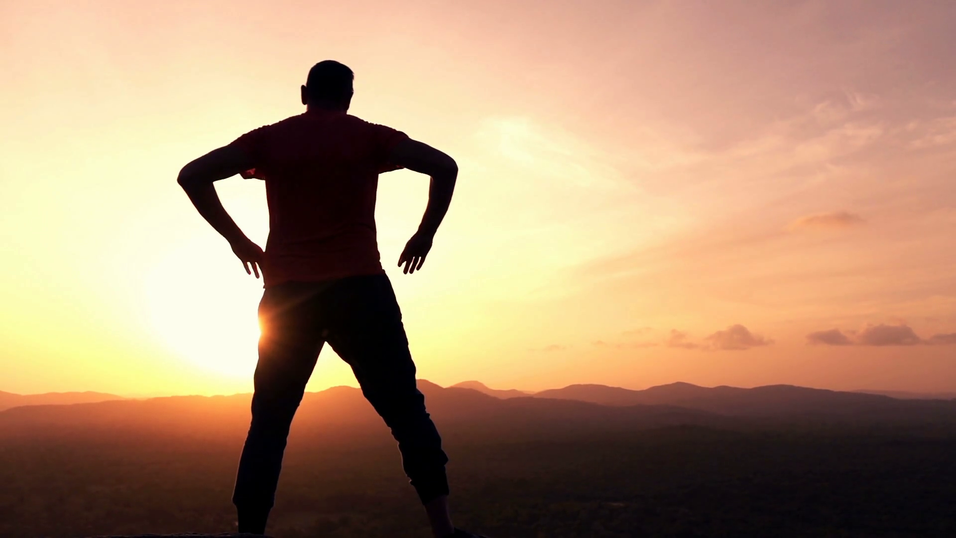 1920x1080 Silhouette Of Man Admire Sunset And Landscape Standing On Hill