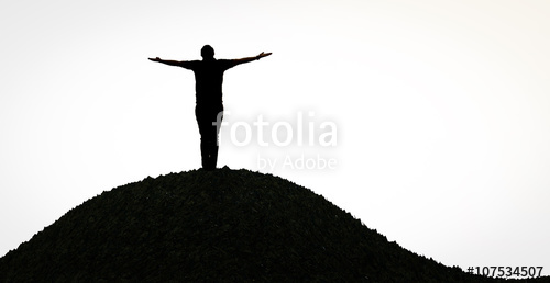 500x258 Silhouette Man Open Arms Standing Alone On Hill Stock Photo