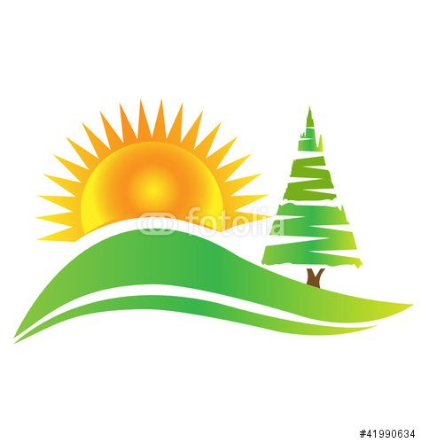475x500 Vector Green Tree Hills And Sun Logo Vector Sun Light Logo