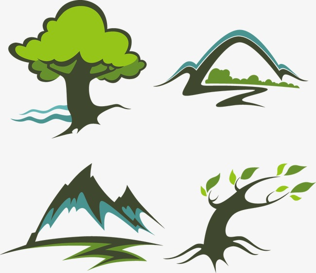 650x563 Cartoon Tree Hill, Hand Painted Scenery, Creative Logo Template