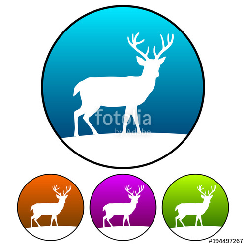 500x500 Circular, Gradient Deer Silhouette On A Hill Icon (White
