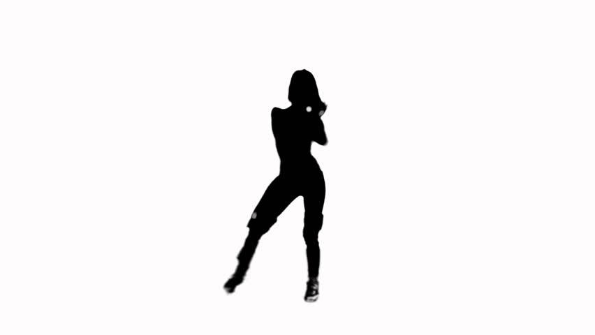 852x480 A Couple Of Hip Hop Dancing Silhouettes. Malefemale. Alpha Matte