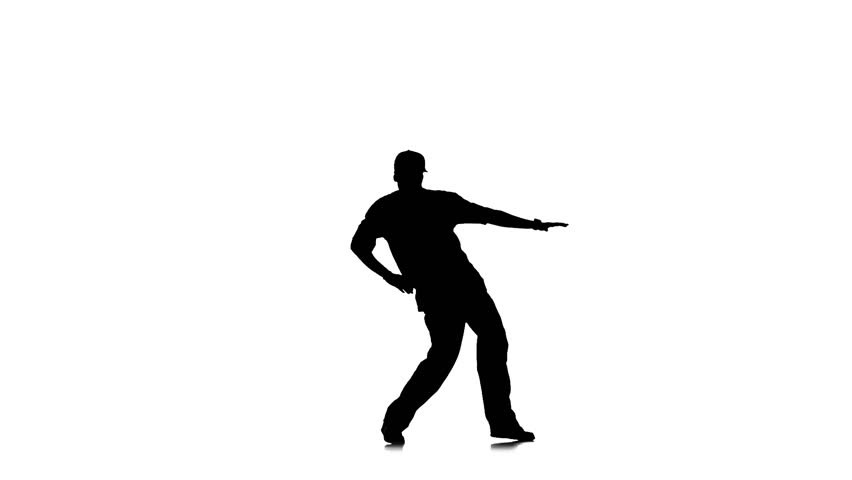 852x480 Handsome Young Man Dancing Hip Hop Kramp On White Background Slow