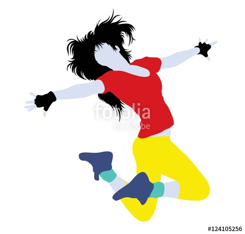 500x477 Activity and Action Hip Hop Dancer Silhouette, art vector design