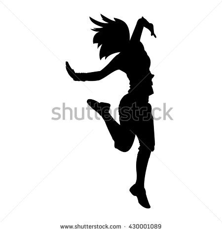 450x470 Hip Hop Woman Dancer Vector Silhouette Isolated On White