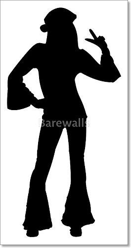 265x500 Dancing Silhouette Hippie Girl Paper Print Wall Art