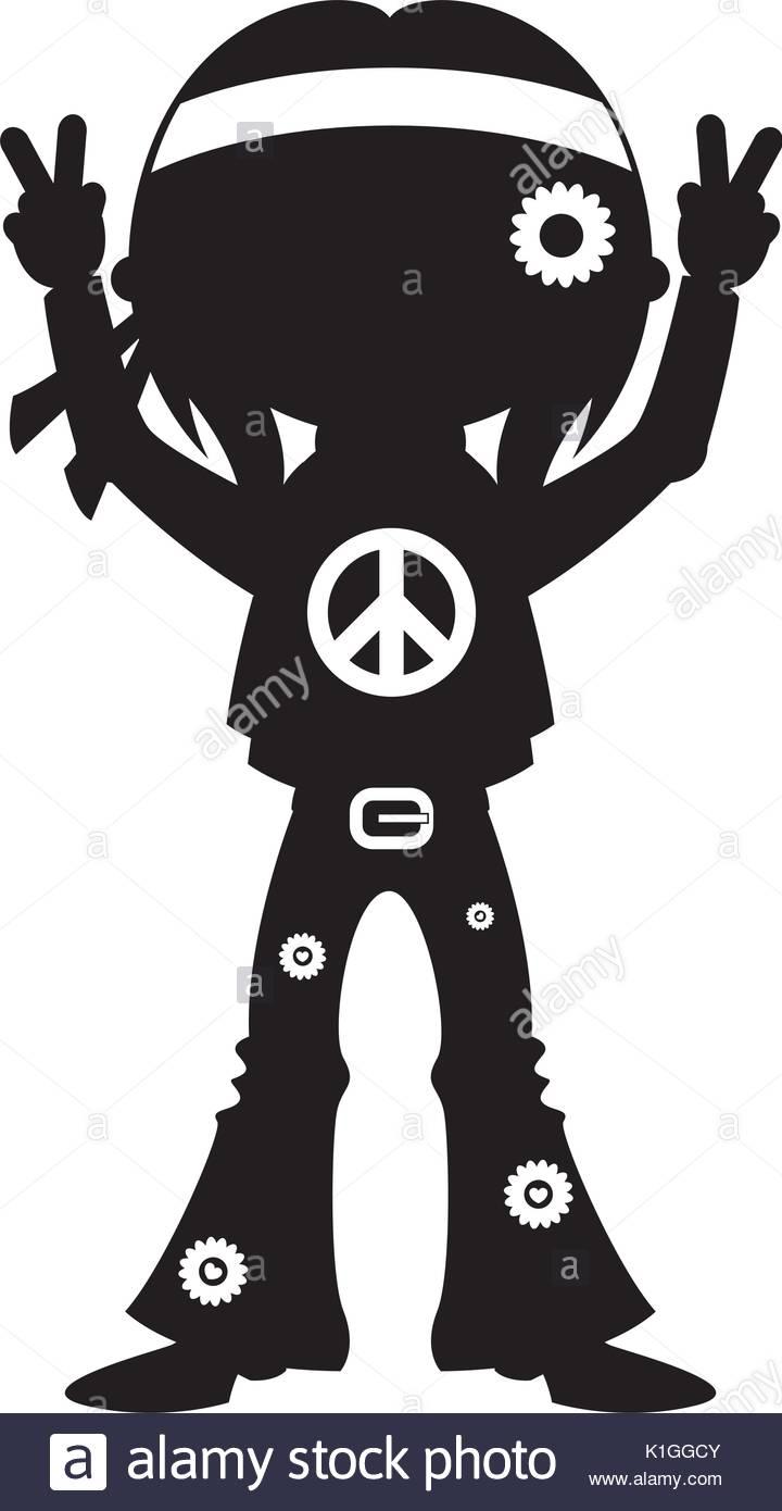 720x1390 Cute Cartoon Hippie In Silhouette Stock Vector Art Amp Illustration