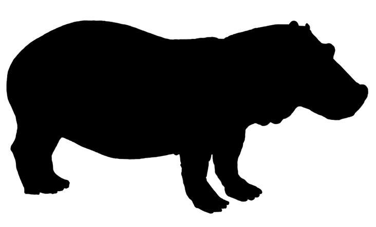 732x443 Hippo Silhouette. Hippos Rhinos