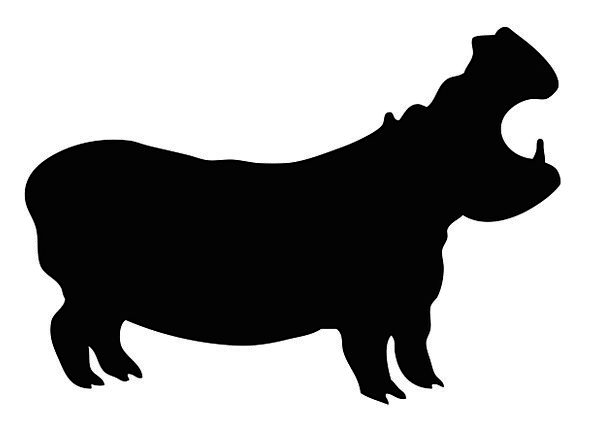 596x426 Hippo, Black, Dark, Hippopotamus, Wildlife, Silhouette, Outline