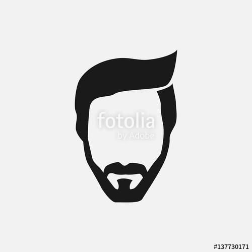 500x500 Bearded Hipster Face Black Silhouette. Vector Illustration Stock