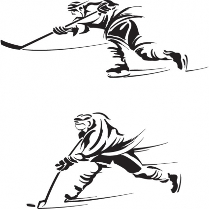 425x425 Free Vector Ice Hockey Players Silhouette Logo Free Vectors Ui
