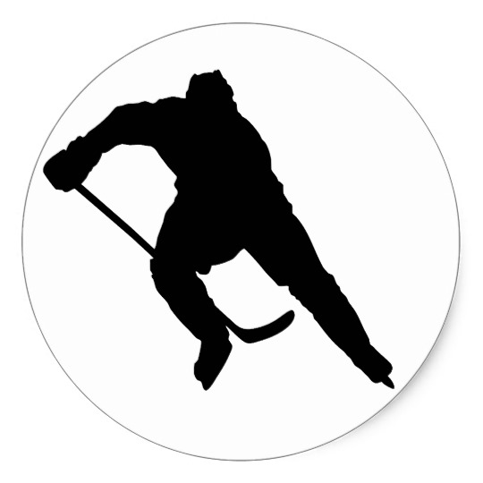 540x540 Hockey Player Silhouette 1 Classic Round Sticker